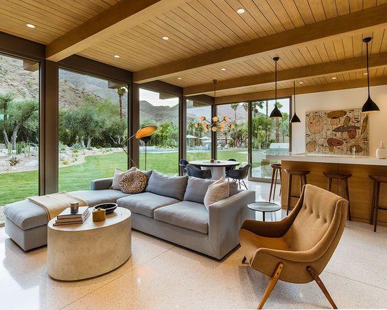modern mid century family room